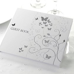 Picture of Elegant Butterfly Guest Book Silver White