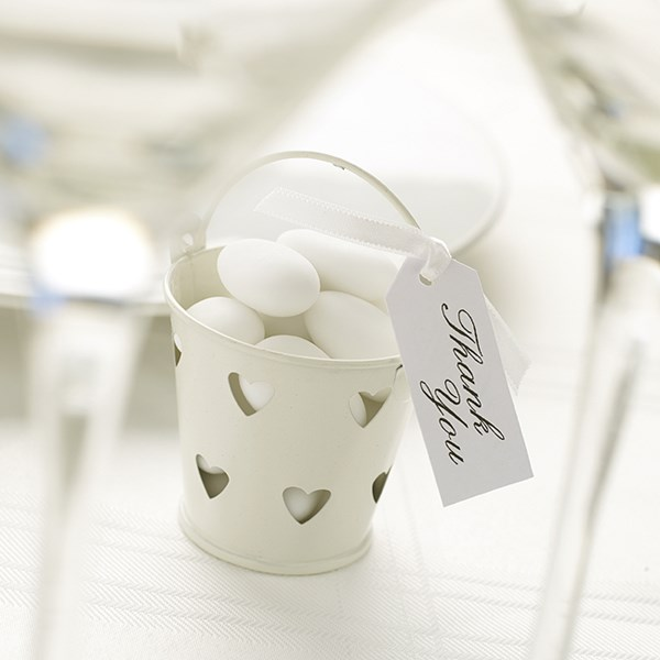 Picture of Favour Pails - Heart Design in Ivory