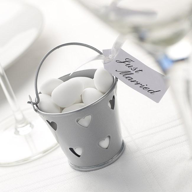 Favour Pails Heart Design In Silver Uk Wedding Favours