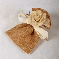 Picture of Hand Made Hessian Rose Pouch