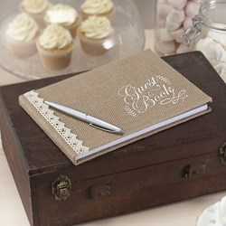 Picture of Hessian Burlap Guest Book