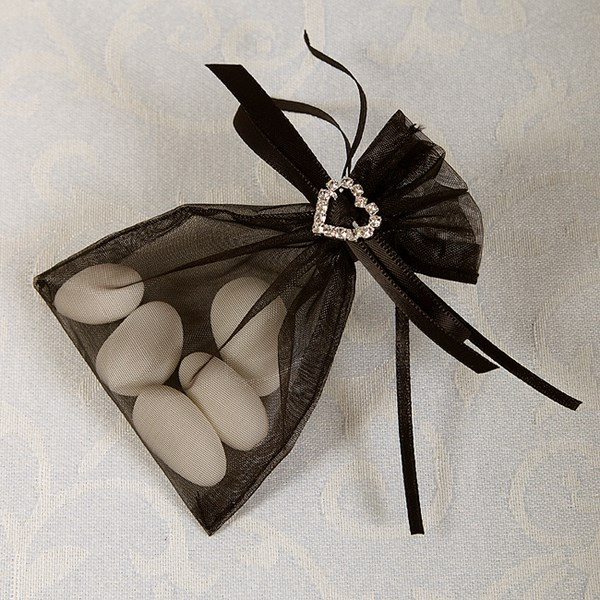 Picture of Ready Made Organza and Diamante Pouch in Black