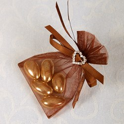 Picture of Ready Made Organza and Diamante Pouch in Brown