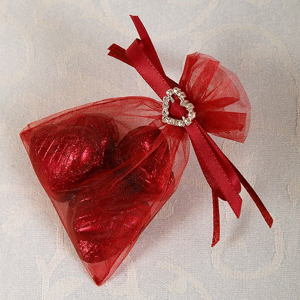 Picture of Ready Made Organza and Diamante Pouch in Burgundy