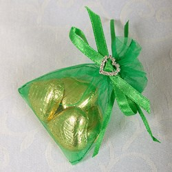 Picture of Ready Made Organza and Diamante Pouch in Emerald Green