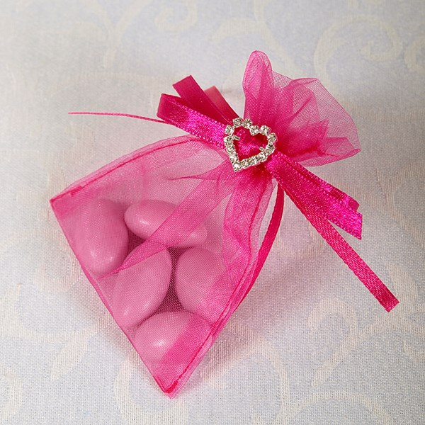 Picture of Ready Made Organza and Diamante Pouch in Fuchsia