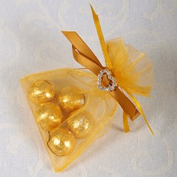 Picture of Ready Made Organza and Diamante Pouch in Gold