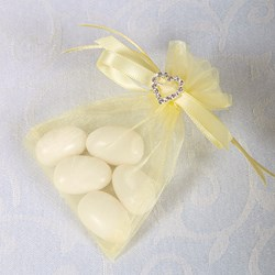 Picture of Ready Made Organza and Diamante Pouch in Lemon
