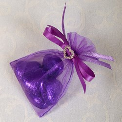 Picture of Ready Made Organza and Diamante Pouch in Purple