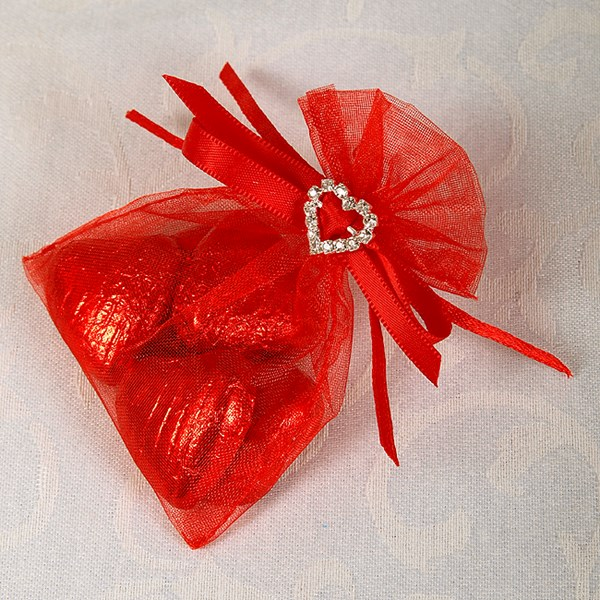 Picture of Ready Made Organza and Diamante Pouch in Red