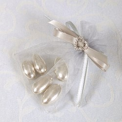 Picture of Ready Made Organza and Diamante Pouch in Silver