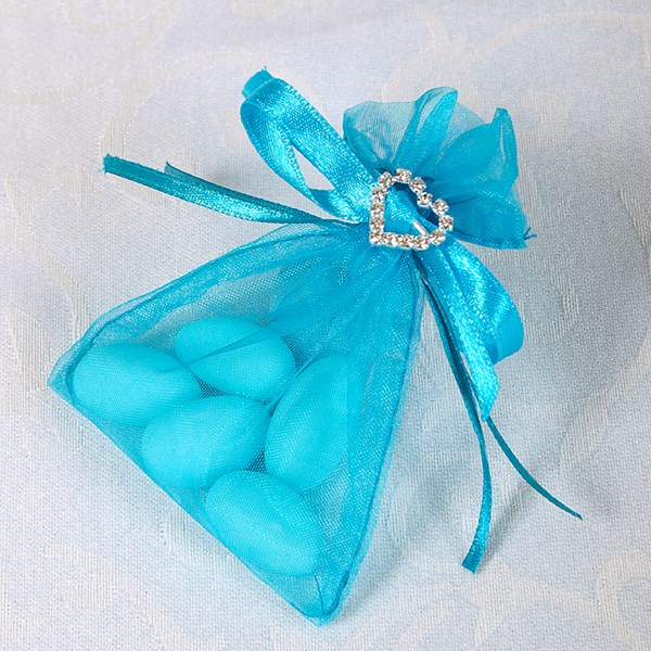 Picture of Ready Made Organza and Diamante Pouch in Turquoise