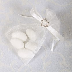 Picture of Ready Made Organza and Diamante Pouch in White