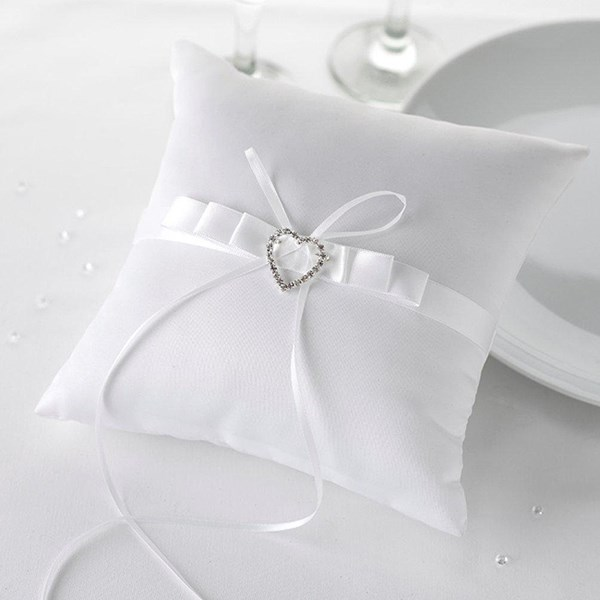 Picture of Ring Cushion - Contemporary Heart in White