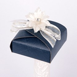 Picture of Silk Navy and Ivory Curved Top Box
