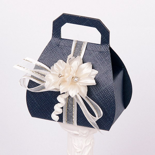 Picture of Silk Navy and Ivory Hand Bag