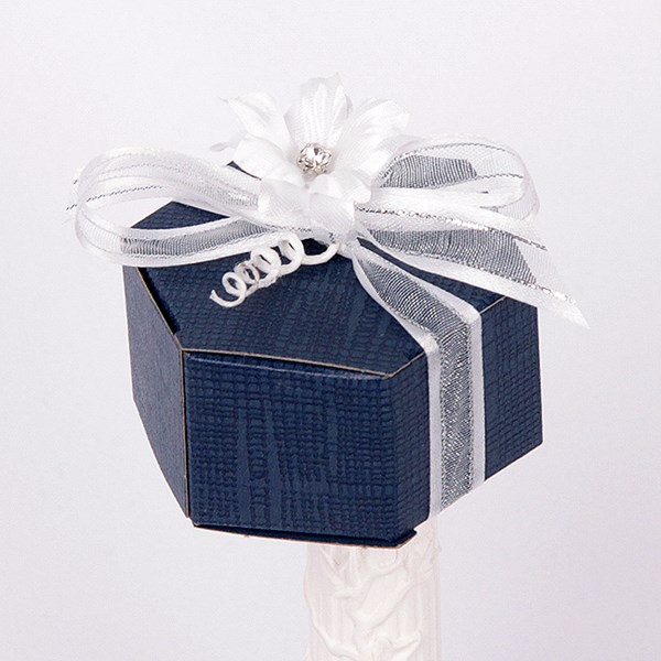 Picture of Silk Navy and White Hexagon Box