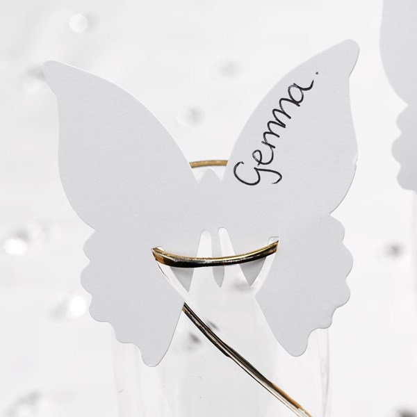 Picture of Solid Butterfly Place Cards for Glass in White (special offer)