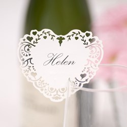 Picture of Vintage Romance - Place Card for Glass - Ivory