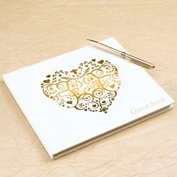 Picture of Vintage Romance Guest Book Ivory/Gold