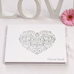 Picture of Vintage Romance Guest Book White/Silver