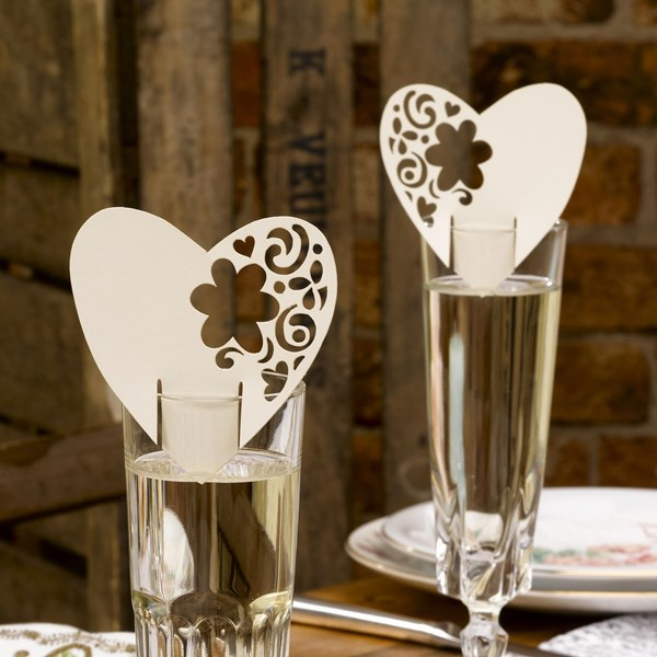 Picture of With Love - Place Cards for Glass in Ivory