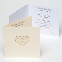 Picture of Ivory Card and Stencil Lace Heart Invitation Cards