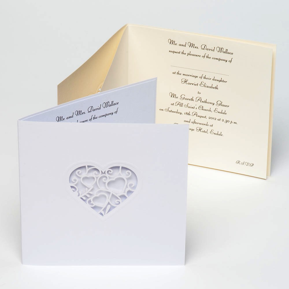 white card and stencil lace heart invitations uk wedding favours