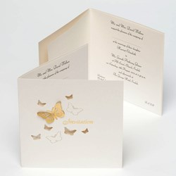 Picture of Pearl/Gold Stencil 3D Butterfly Invitation Cards