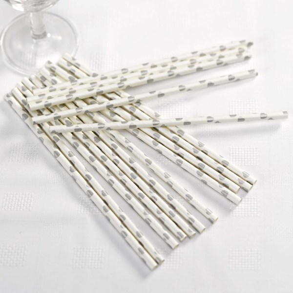 Picture of Vintage Romance - Paper Straws - White/Silver Hearts