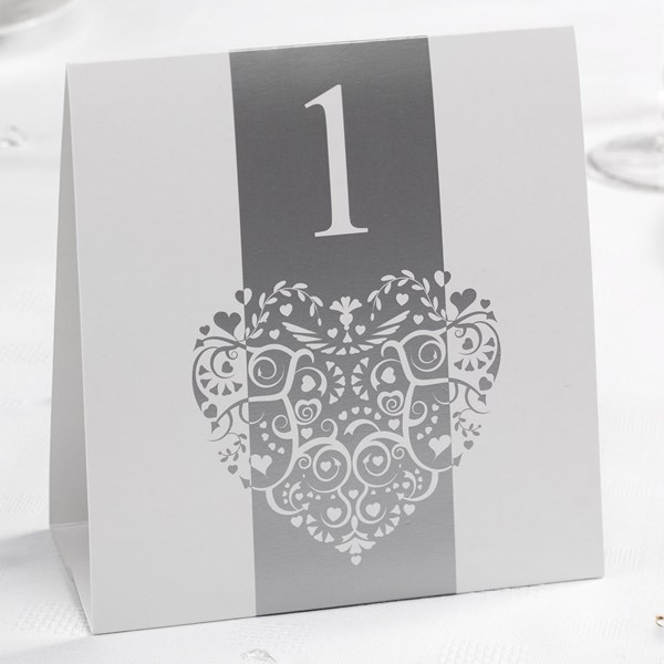Picture of Vintage Romance - Table Numbers - White/Silver