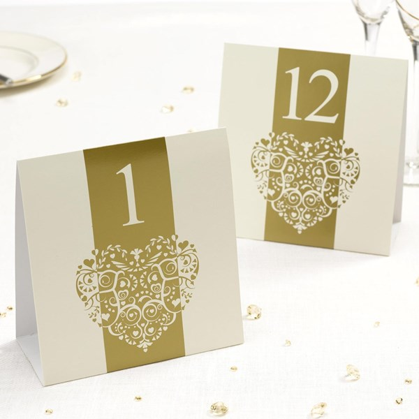 Picture of Vintage Romance - Table Numbers - Ivory/Gold