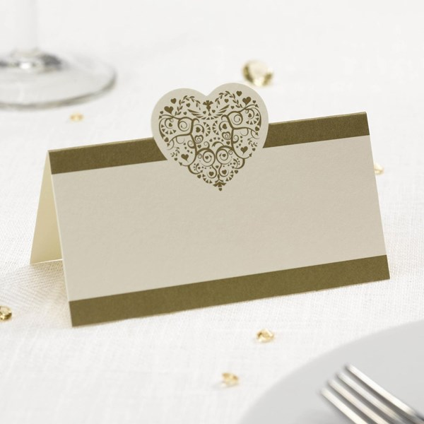 Picture of Vintage Romance - Place Card - Ivory/Gold