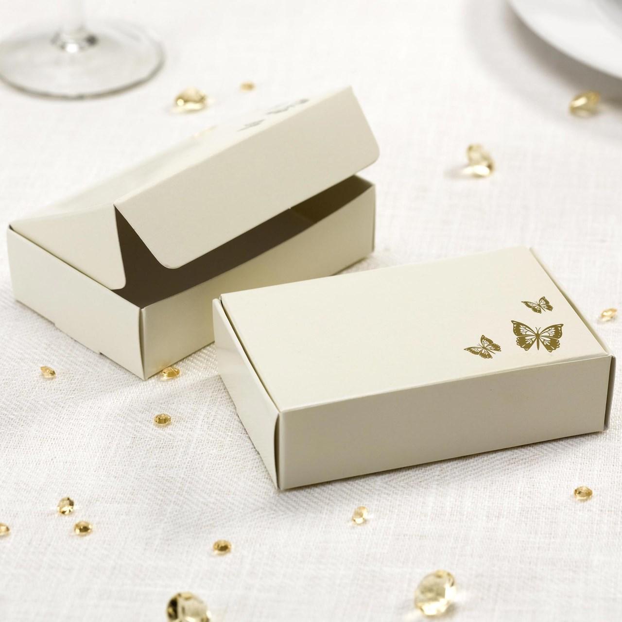 Elegant Butterfly - Cake Box - Ivory/Gold | UK Wedding Favours