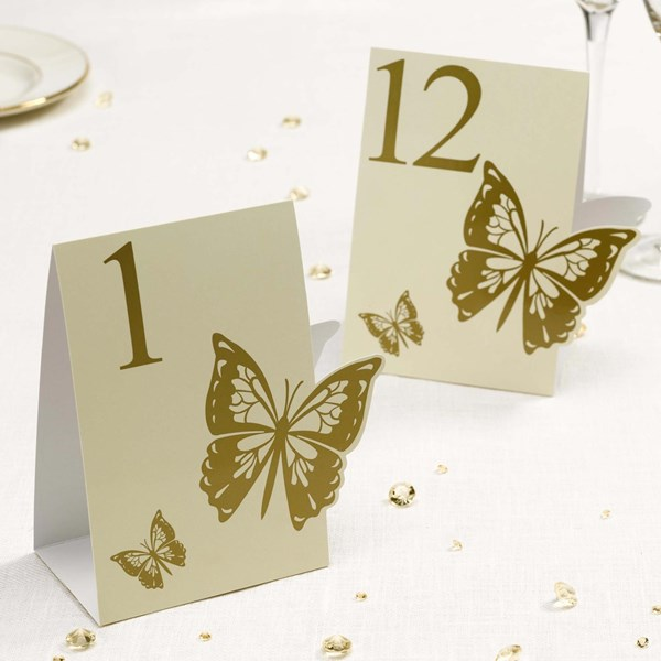 Picture of Elegant Butterfly - Table Numbers - Ivory/Gold