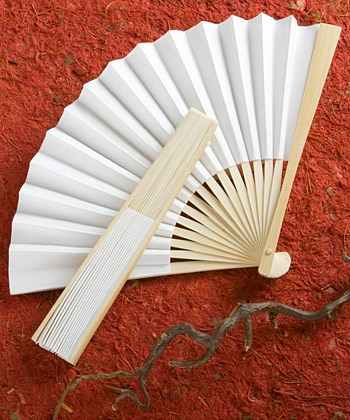 Picture of Elegant White Folding Fan Favour