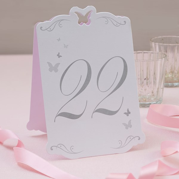 Picture of Butterfly Table Numbers White/Silver - Flutter-by - 13 - 24