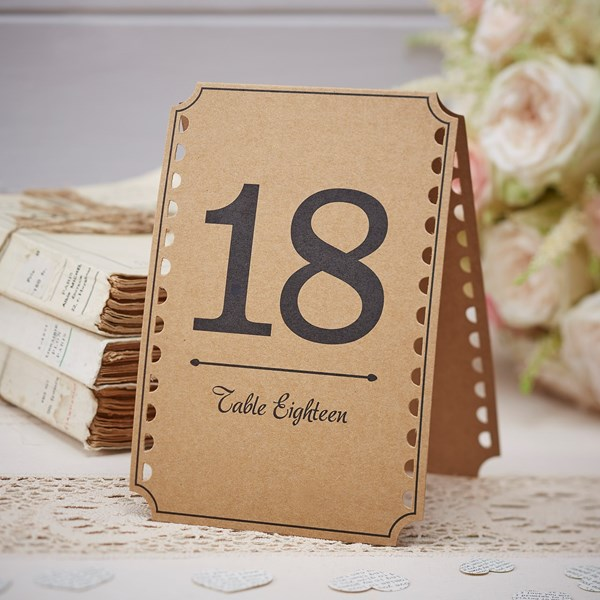 Picture of Brown Kraft Table Numbers - Vintage Affair - 13- 24