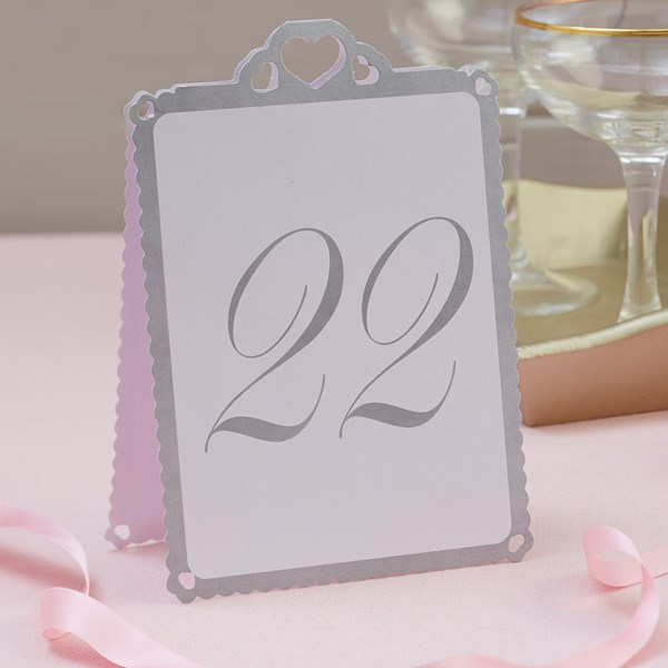 Picture of Heart Table Numbers White & Silver - Love Struck - 13 - 24