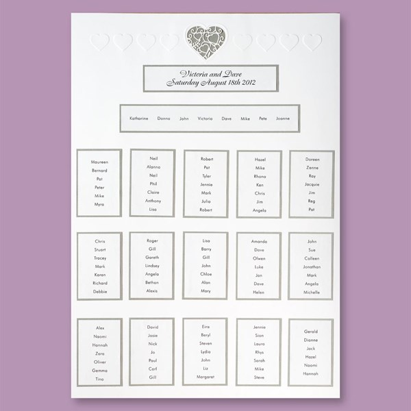 Picture of White/Silver Lace Heart Table Plan - A2